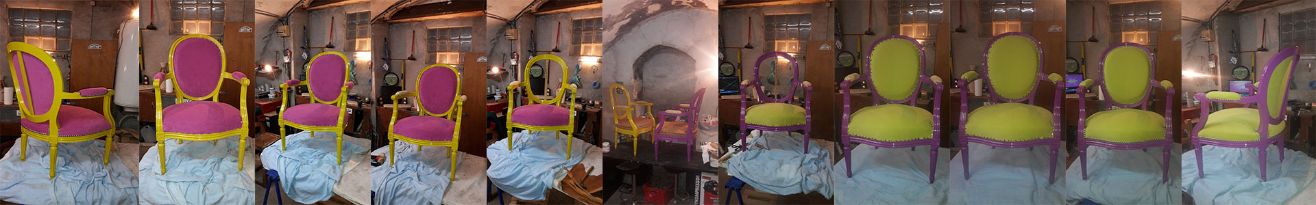Fauteuils louis xvi m daillon pop art atelier relook 39 art - Tapissier decorateur montpellier ...